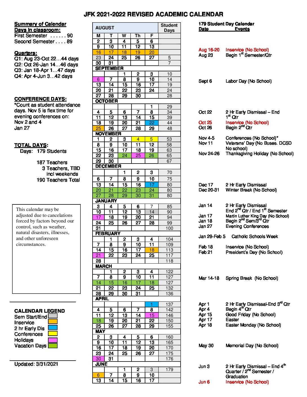 2020-21 Academic Calendar
